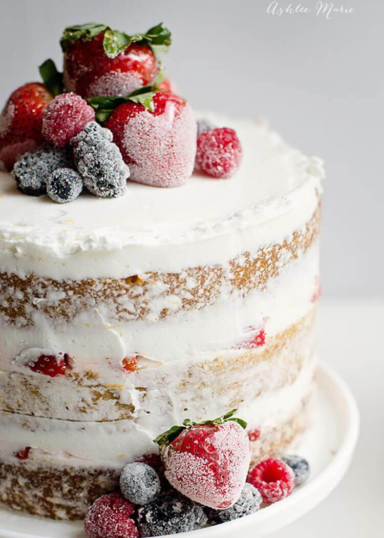 Naked Cake with Candied and Sugared Berries Fresh fruit Cake