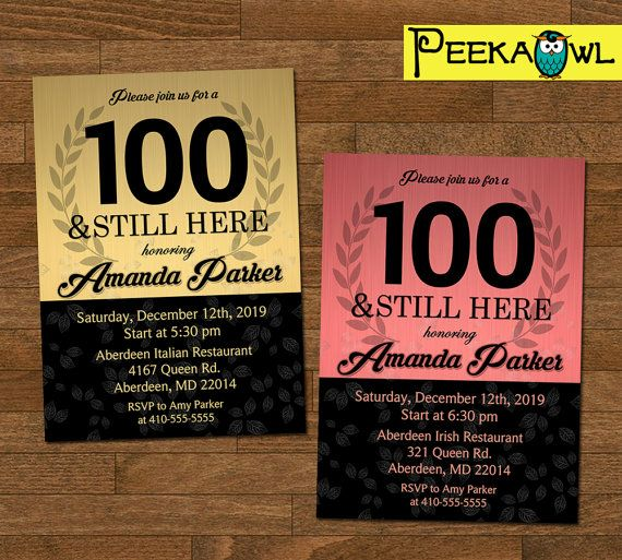 Printable Leaves 100th Birthday Invitation Card 100 By PeekaOwl Work Fun