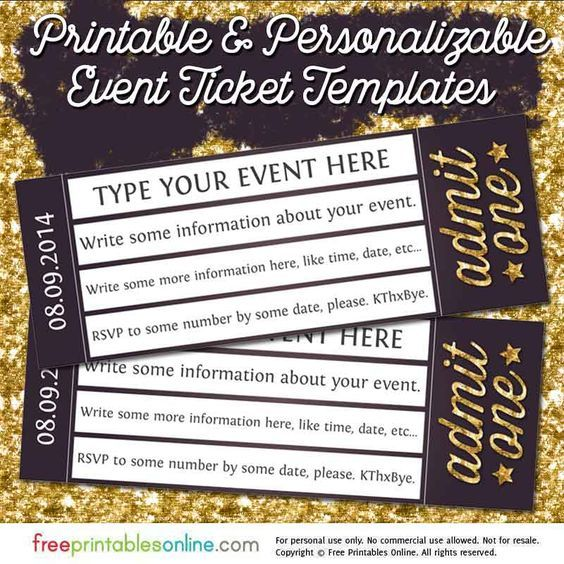 Admit One Gold Event Ticket Template (Free Printables Online)  Concert Ticket Template Free