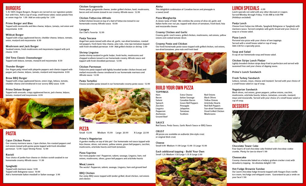 Restaurant To-Go Menu Graphic Design Services for Pizza and Burger