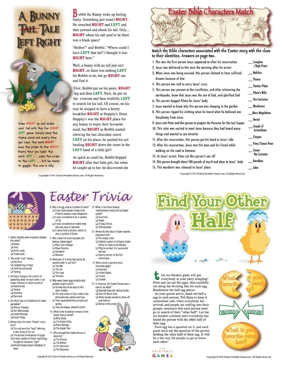 Easter Trivia Printable Easter Party Games Packet Bunny