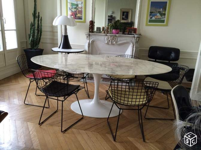 Tables Tulip Marbre Ovales Saarinen Edition Knoll Ameublement