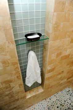 Shower Niche Glass Shelf | Limestone Wall Tile With Glass Tile Niche, Glass  Shelf And A Hook In .