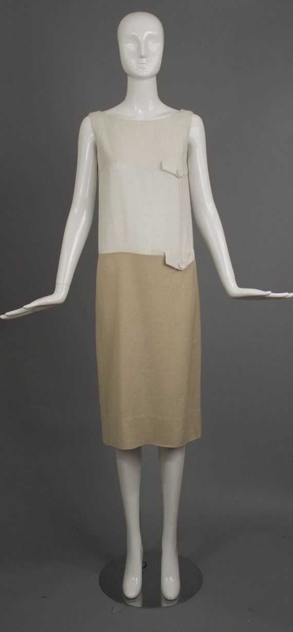 e5e6521d70 Vintage 1960s tan white BH WRAGGE slubbed linen silk color block summer  crisp and clean simple summer shift DRESS
