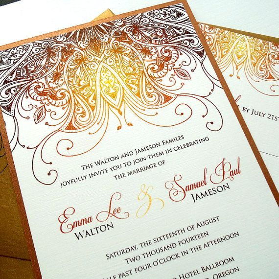 Ornate Ethnic Wedding Invitations Intricate Indian or Art Nouveau