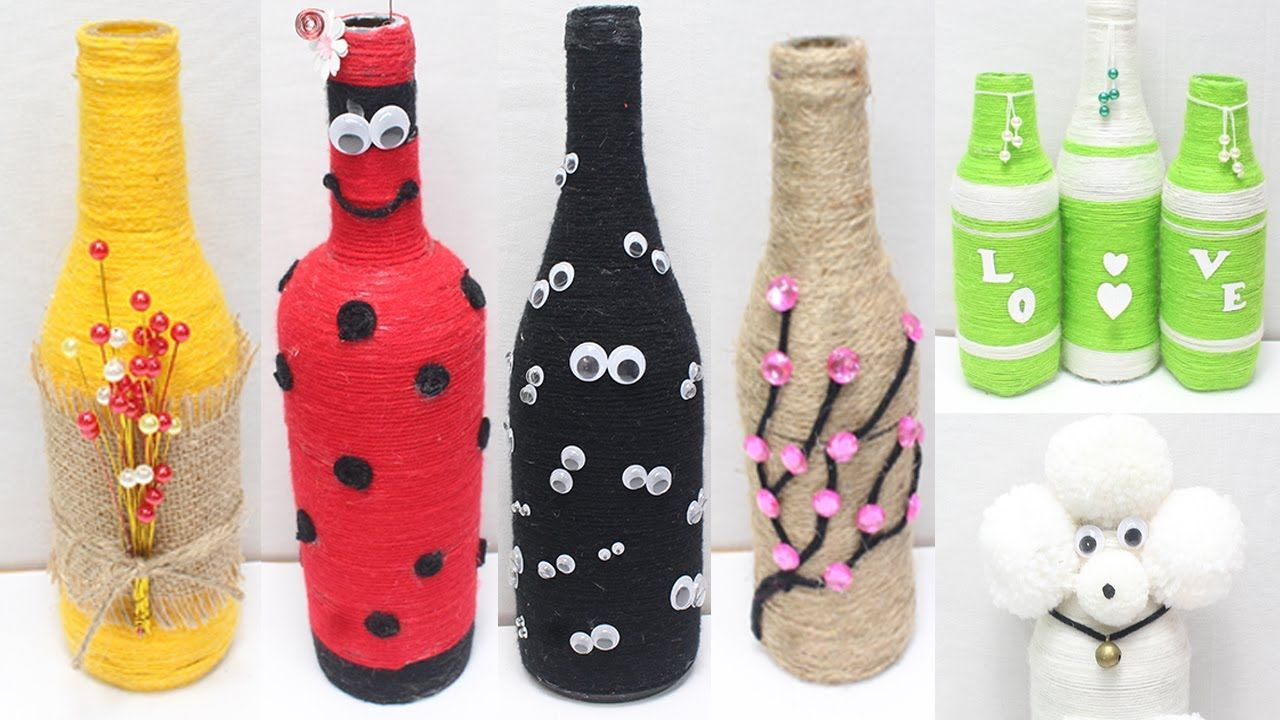 Glass Bottle Decoration Ideas With Wool Glass Bottle Craft Idea Easy In 2020 Diy Glass Bottle Crafts Bottles Decoration Glass Bottle Crafts