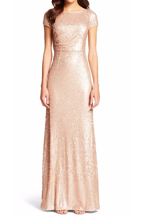 adrianna papell Sequined Gathered Evening Dress Gown Nude ...