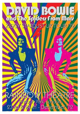 David Bowie And The Spiders From Mars Ziggy Stardust Uk Tour 1972 Rainbow Theatre In London 23rd 24t David Bowie Concert Posters Vintage Concert Posters