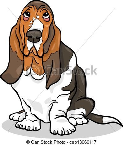 vector clip art of basset hound dog cartoon illustration cartoon rh pinterest com basset hound clipart black and white basset hound clipart free