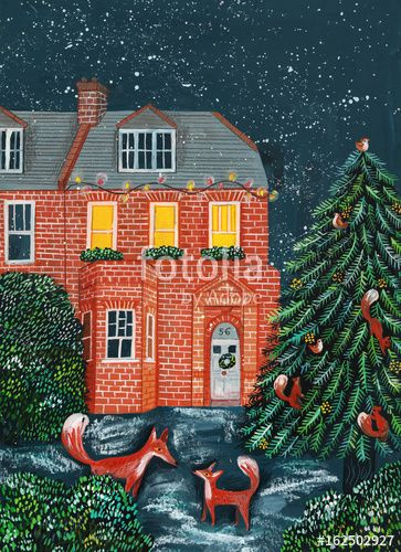 House at night with snow a Christmas tree and foxes