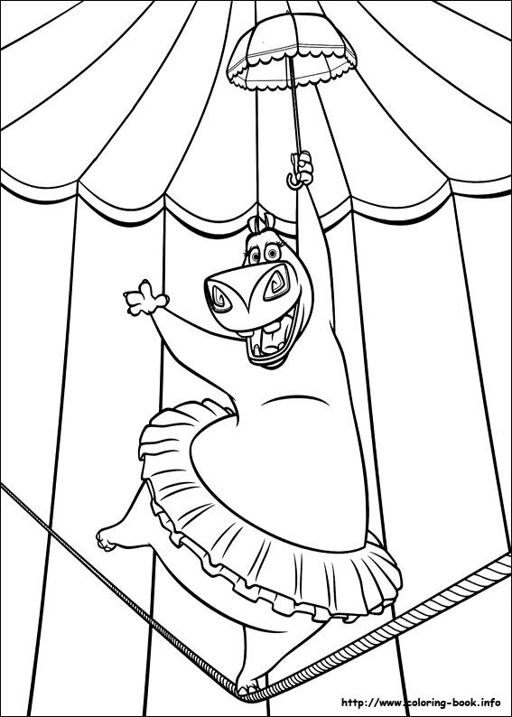 madagascar 3 circus coloring pages | Madagascar 3 coloring picture | Disney coloring pages ...