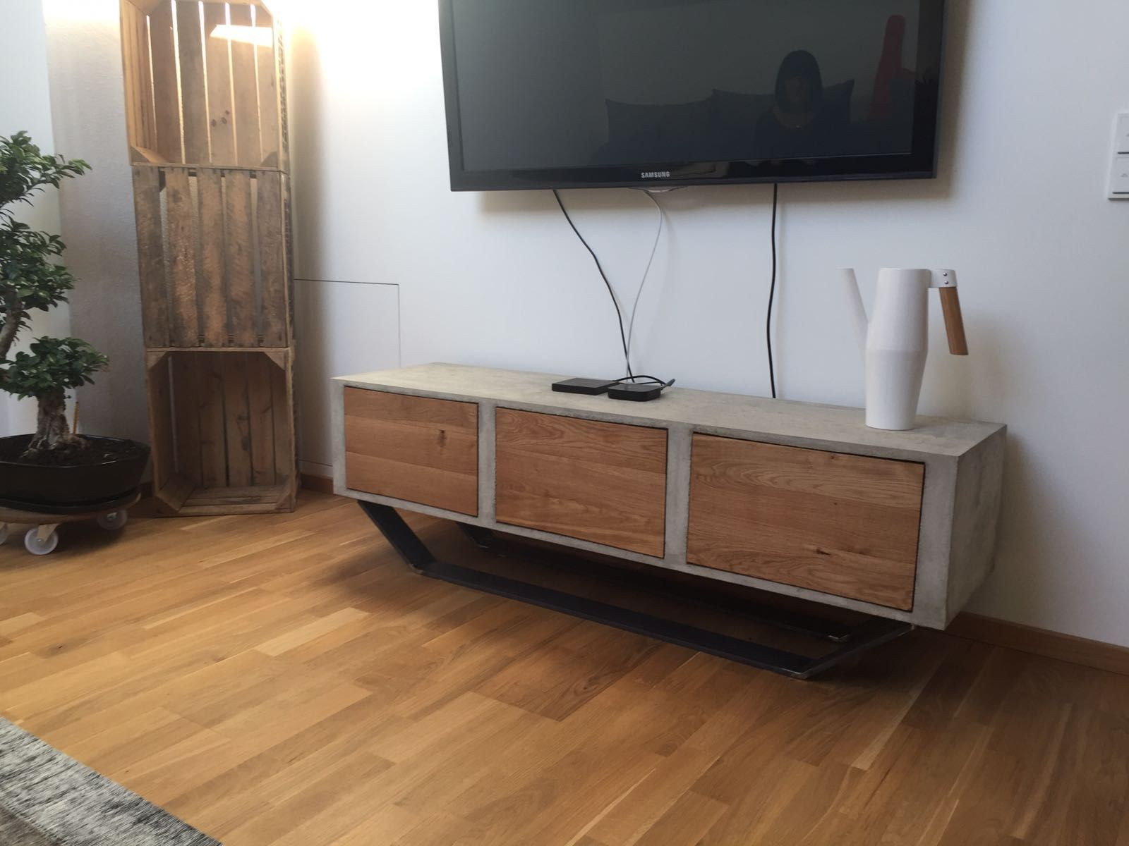 Tv Sideboard Holz Tv Sideboard Beton Holz Beton Design Tv Sideboard