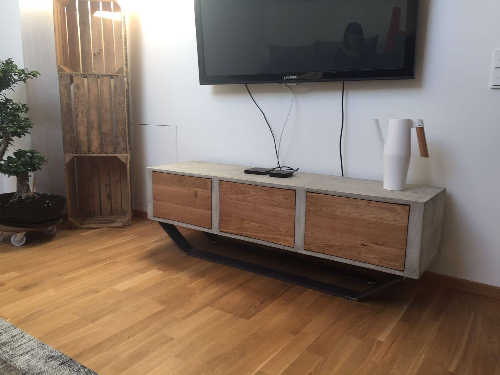 tv sideboard beton holz beton design tv sideboard. Black Bedroom Furniture Sets. Home Design Ideas