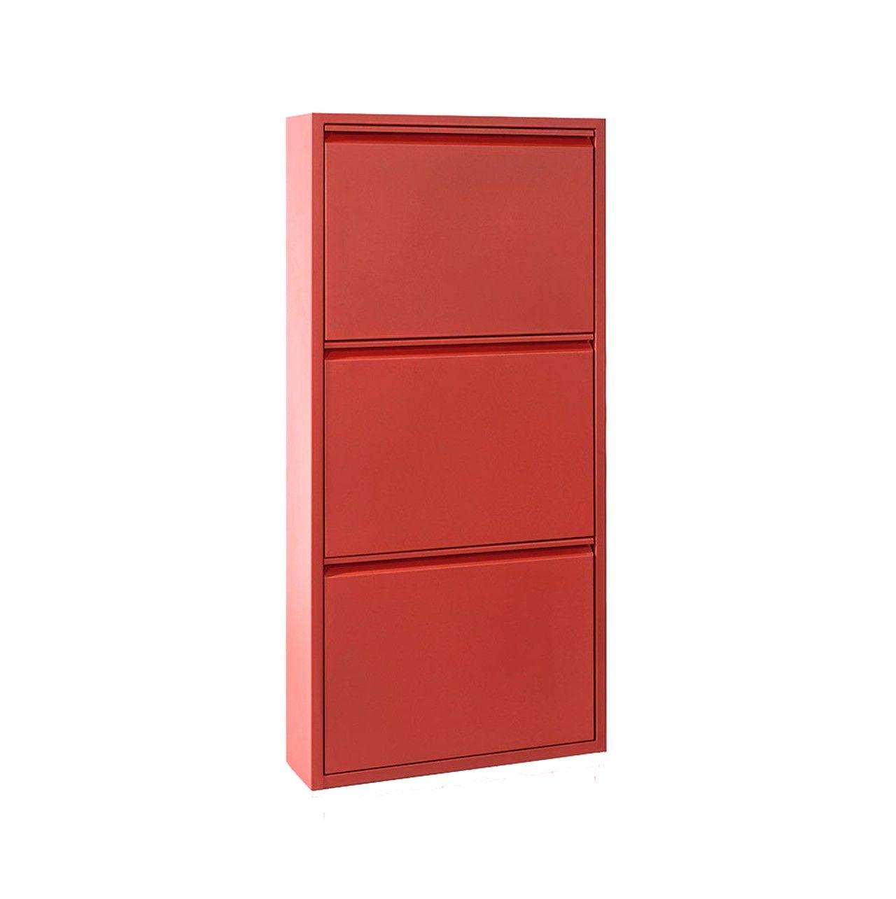 #Zapatero de tres puertas #color #rojo