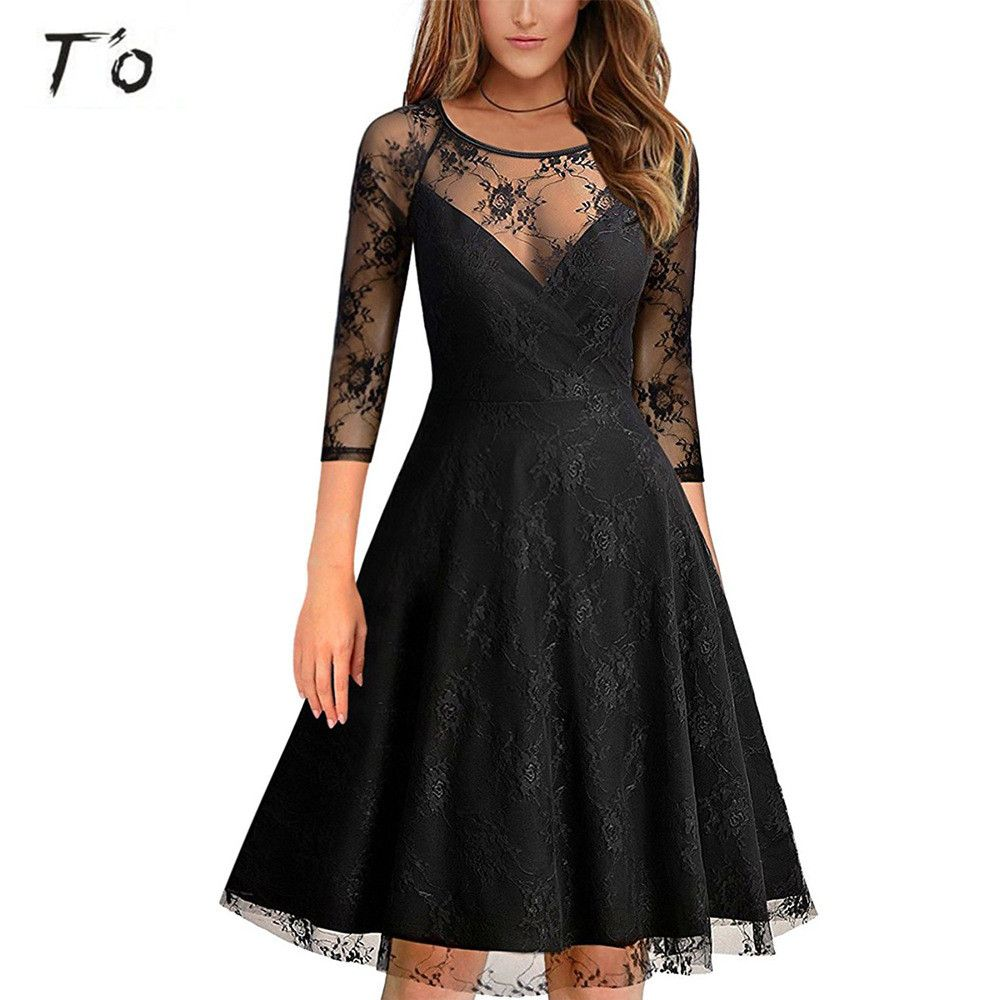 Click to buy ucuc tuo new woman sexy see through mesh lace round neck