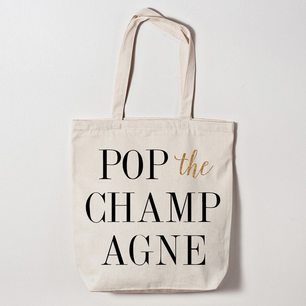Beach wedding gift bags  Pop the Champagne Tote Bag  Bachelorette Wine Tasting Party