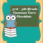Common Core Standards ELA & Math Checklist for 3rd - 5th Grade Bundle