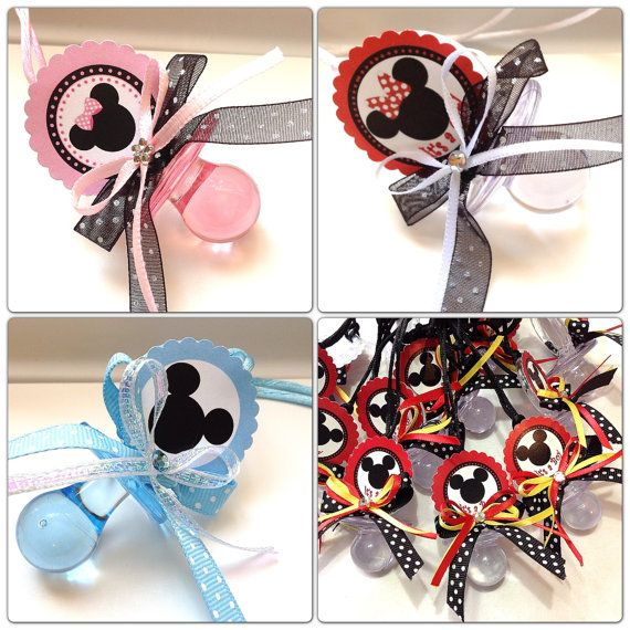 12 minnie and mickey mouse pacifiers for baby shower set. Black Bedroom Furniture Sets. Home Design Ideas