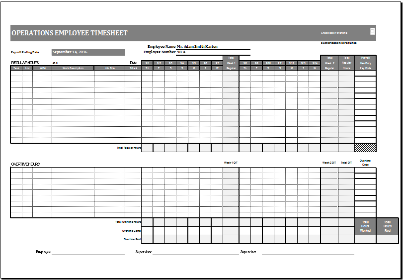 Operations Employee Time Card Template Ms Excel Excel Templates Excel Templates Free Printable Card Templates Printing Business Cards