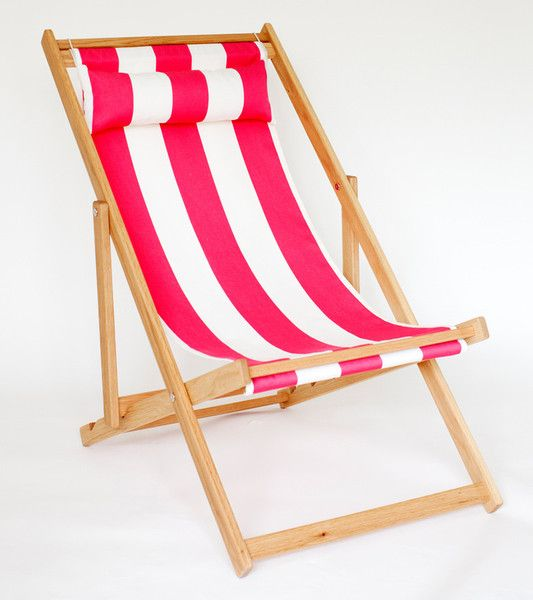 hot pink and off white striped deck chair fabric on folding white oak fram