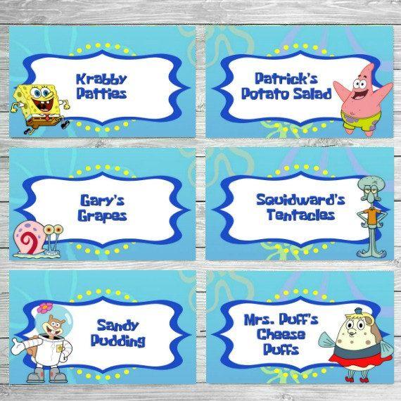Spongebob Food Labels, Spongebob Birthday Food Labels