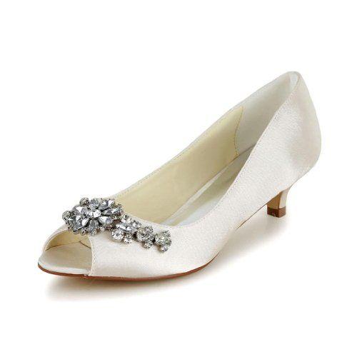 Jia Jia Women S Bridal 01110 Peep Toe Kitten Heel Satin Wedding Shoes Champagne 1 5 Heel Wedding Shoes Heels Wedding Shoes Low Heel Bridal Shoes Low Heel