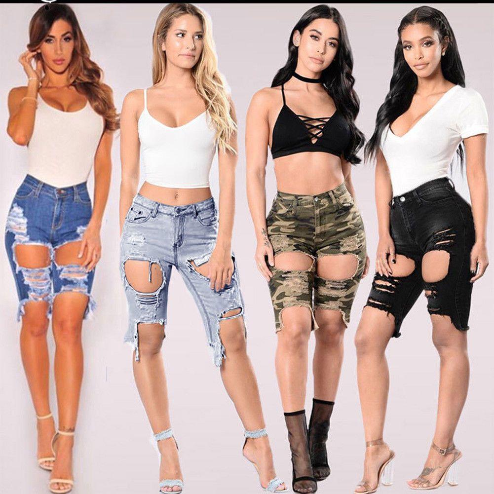 c97608cee2c1 Women Ladies Ripped Hole High Waist Washed Denim Shorts Jeans Knee Pants  6-18  ebay  Fashion