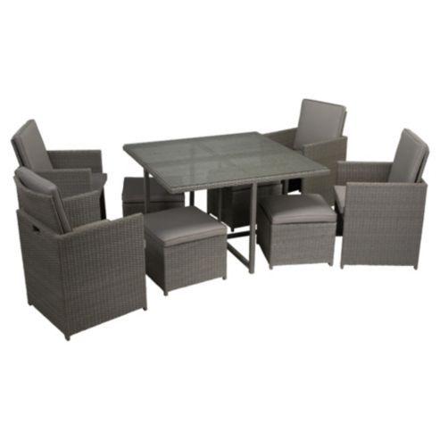 Taupe Steel & Rattan Folding Garden Furniture Set - Grey ...