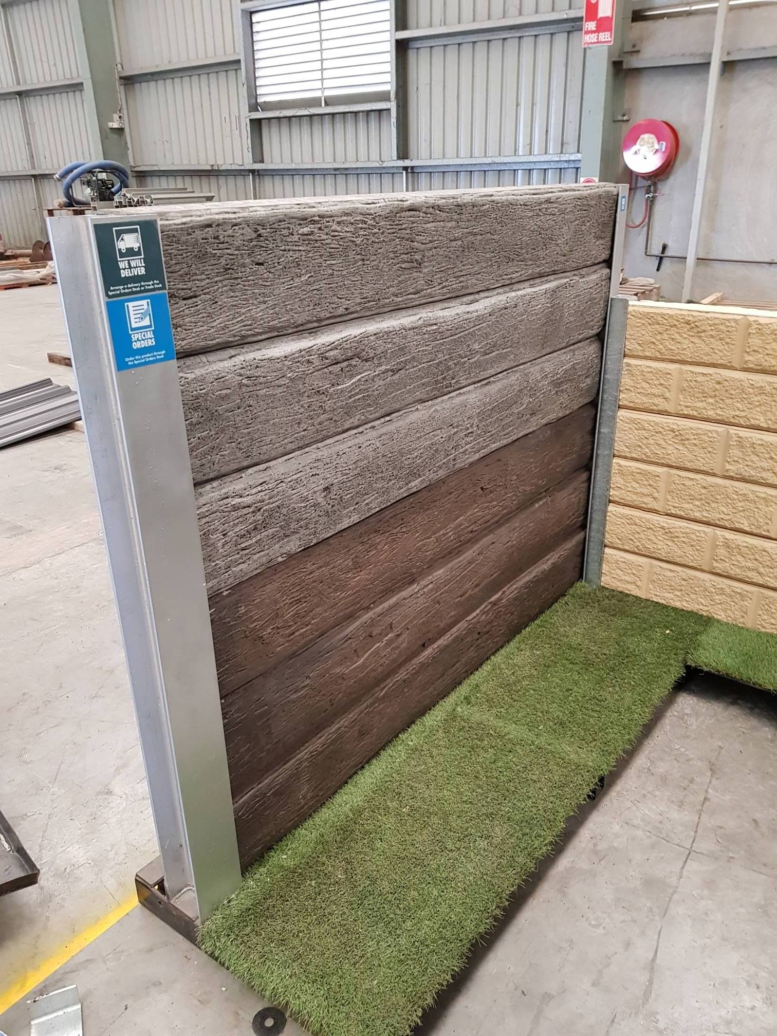 Pioneer Display For Bunnings Warehouse Expo Coming Up Next Week For More Information Vis Concrete Retaining Walls Backyard Retaining Walls Modern Fence Design