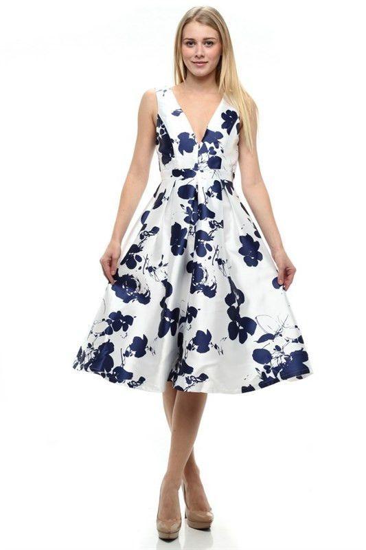 Sophia Print Midi Dress Navy Shop Lombard And Fifth Garden