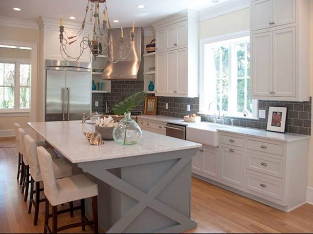 Grey Kitchen Cabinets With Blue Island i really like white cabinets with gray counters! the blue island isn