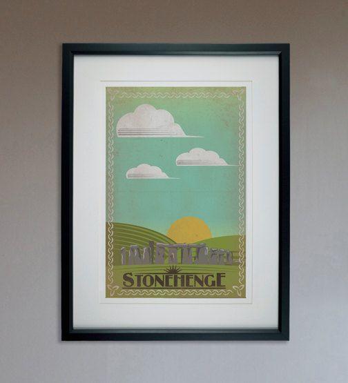 Retro Stonehenge Travel Poster - 13x19 Print