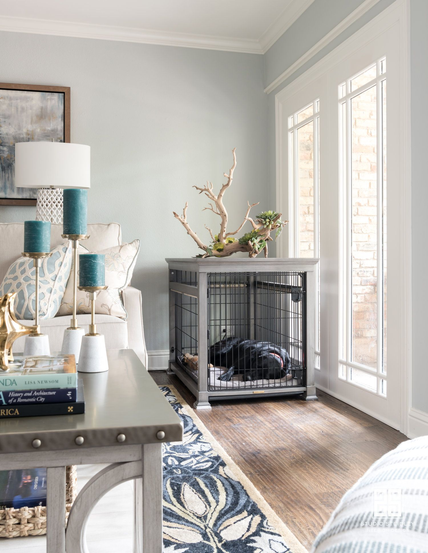 How to design around a Dog crate in your living room