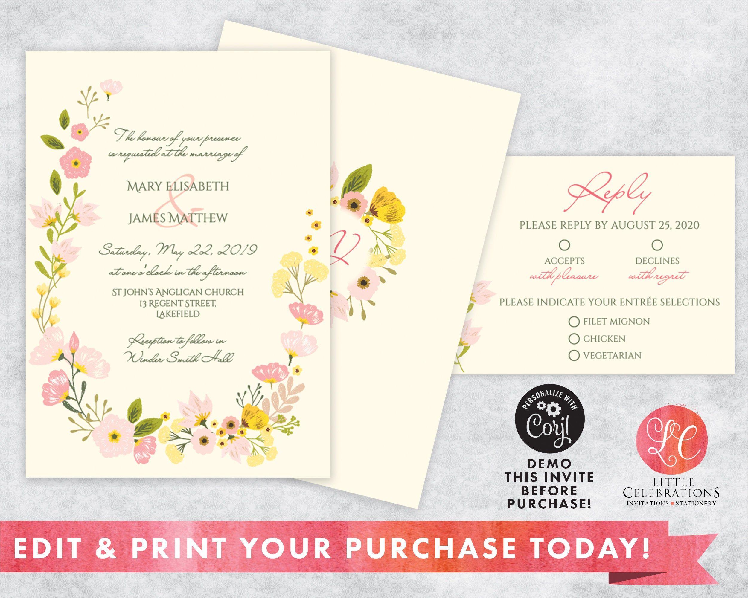 Editable Floral Wedding Invitation, Country Wedding