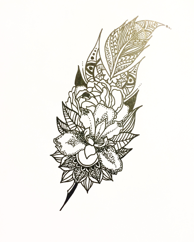 Mandala Feather Tattoo Idea Feathertattoo Tattoo Design Mandala Design  Irisflower Irisflowertattoo Dotwork Tattoo Dotworkers Art Artist