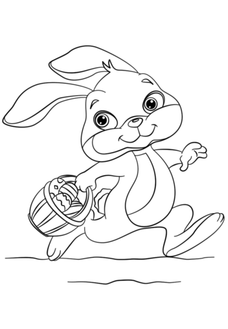Bunny Running with Easter Eggs in a Basket coloring page from