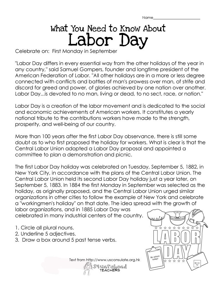 What You Need to Know About Labor Day free printable worksheet – Free Printable History Worksheets