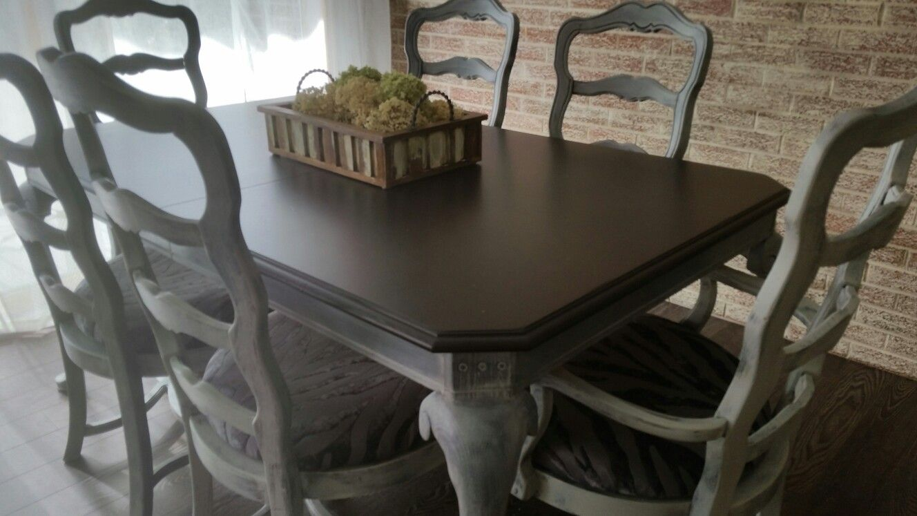 My French Country Dining redo with ASCP! ! Graphite and Old Ochre mix.  Java Gel Stain top. Bricks done with Old Ochre wash. So easy.Loving it!!!