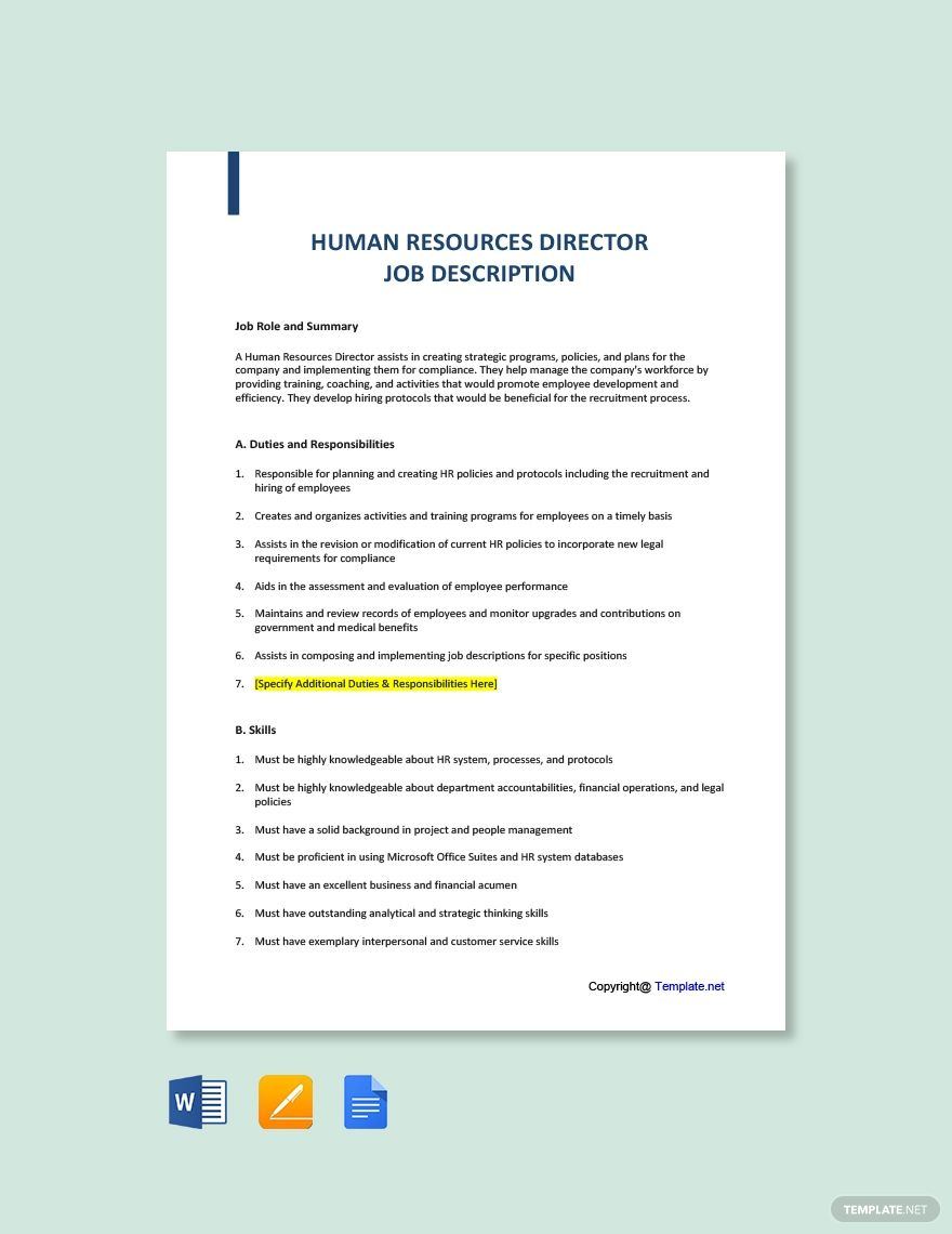 Free Human Resources Director Job Description in 2020
