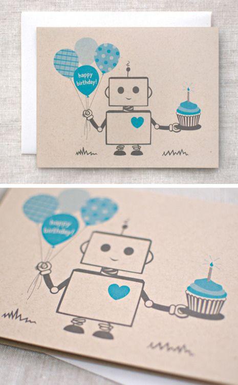 Приглашение на день рождения роботы открытка