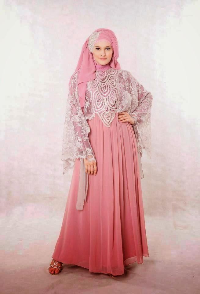 Model  gaun pesta muslim  modern  sifon dan taff Simple