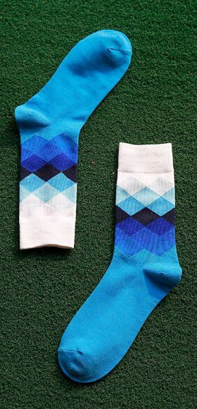 Mens Tide Brand Happy Socks Colorful Gradient Diamond Summer Style Combed Cotton Sox
