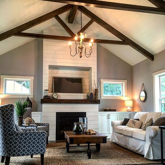 Shiplap vaulted ceiling and fireplace