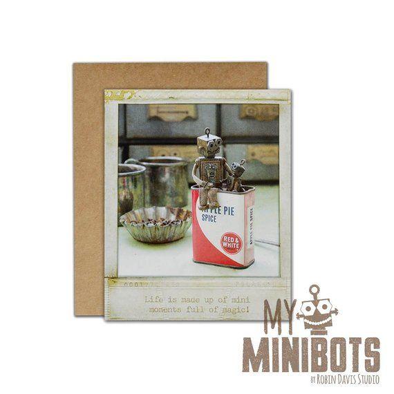 Robot Greeting Card, Vintage Polaroid Card, Retro Robot