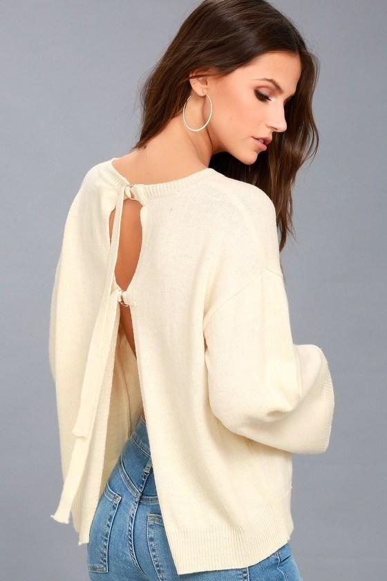 a5d13afb56a  mothersday  AdoreWe  Lulus Womens - Lulus Maurice Cream Backless Sweater  Top - AdoreWe.com