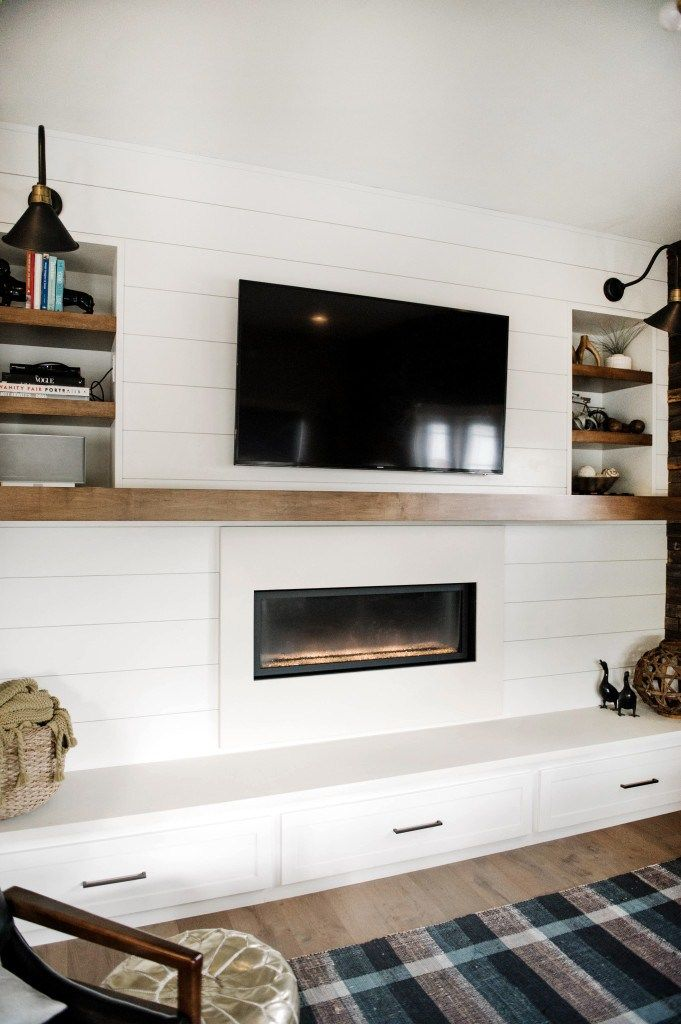Shiplap And Modern Fireplace With Floating Wood Mantel Concrete Surround Hearth