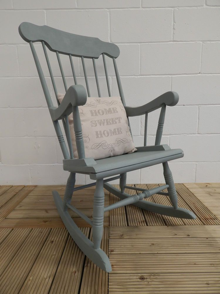 wooden rocking chair painted in annie sloan duck egg chalk paint