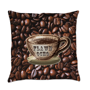#Coffee Bean Pattern With Coffee Cup Pillow   Coffee Themed Home Decor  #FlawnOcho #