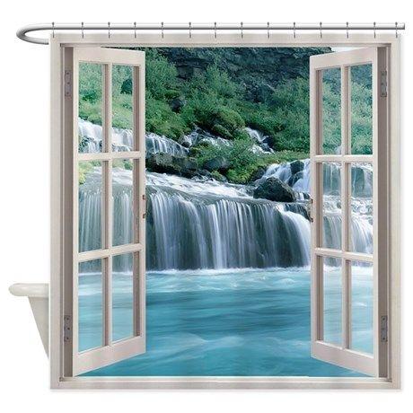Open Window With Waterfall Veiw Shower Curtain On Cafepress Com