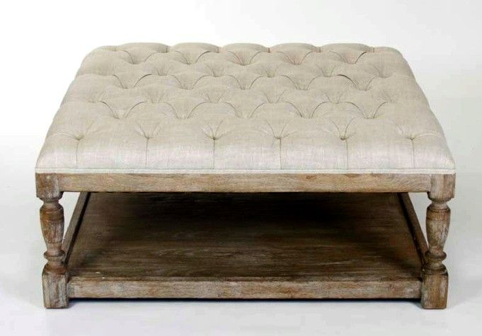 Square Tufted Ottoman Fabric Natural Cream Linen Frame Weathered Oak Dimension L 39 X W H 17